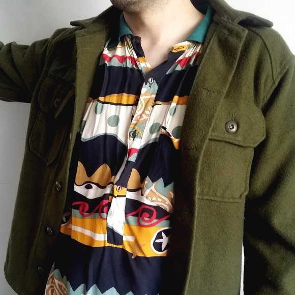 1980's Olive Green Army Wool Jac Shirt